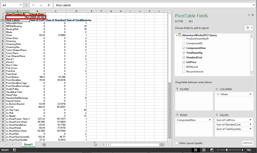 PowerPivot and Dynamic SQL Server Stored Procudure