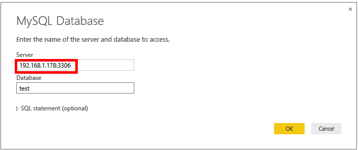 Connecting from Power BI Desktop to MySQL using IP Address and port number