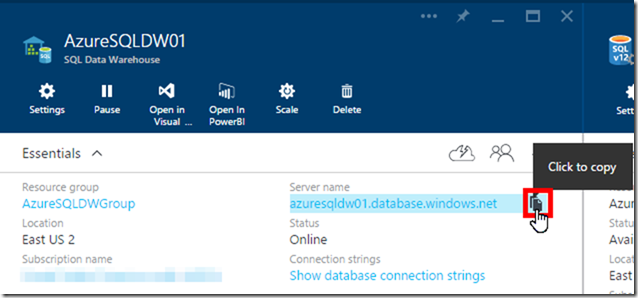 Azure SQL Data Warehouse Server Name