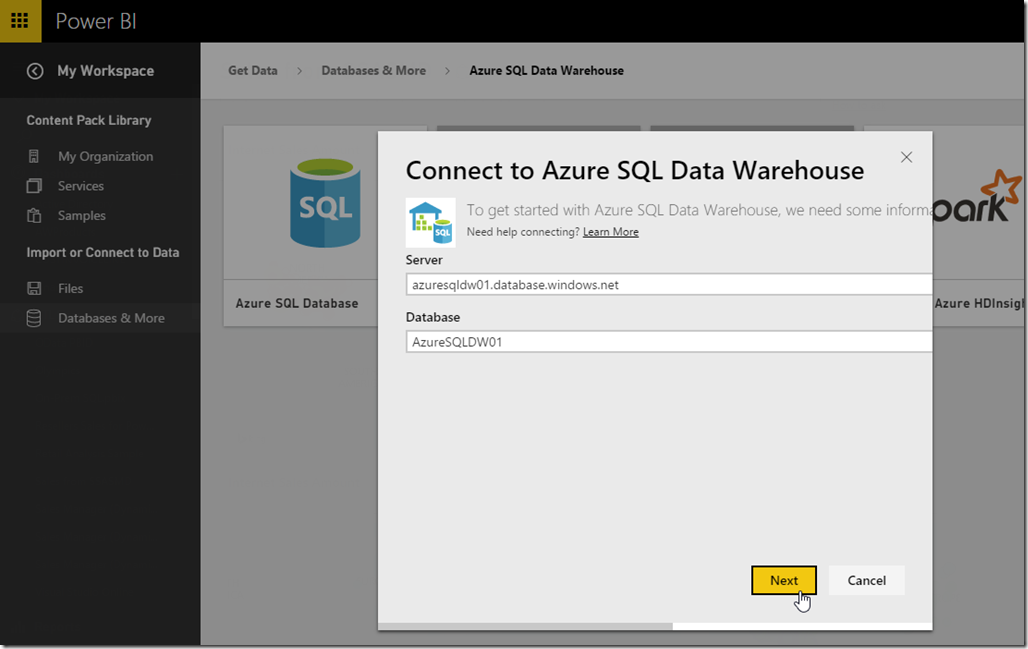 Azure SQL Data Warehouse and Power BI 01