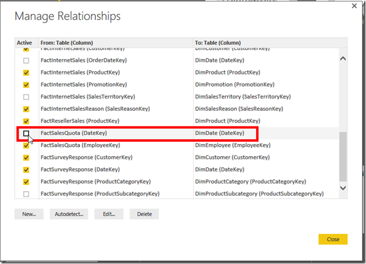 Power BI Desktop Edit Relationships