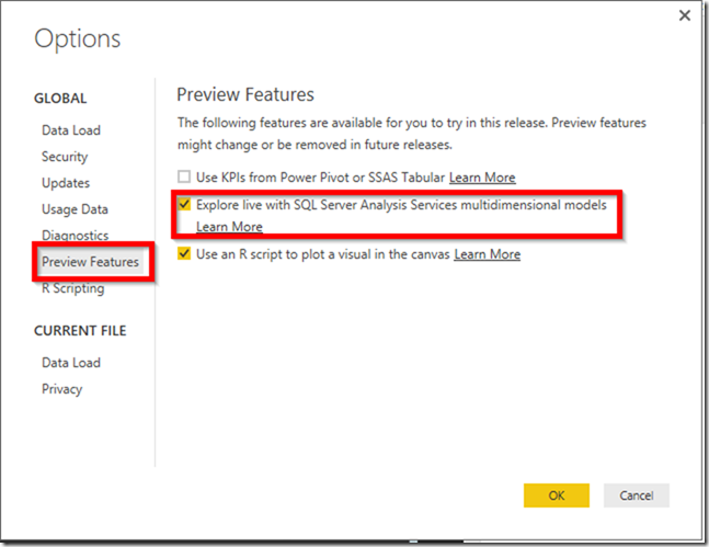 Power BI Explore Live Settings 01