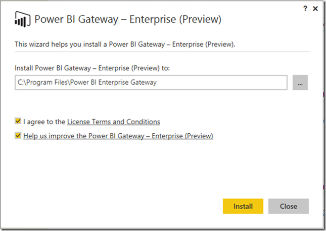 Installing Power BI Enterprise Gateway