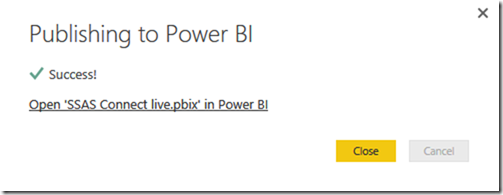 SSAS Multidimensional Power BI Successful Publish