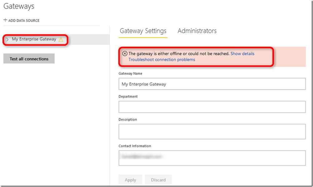 Power BI Enterprise Gateway Management 01