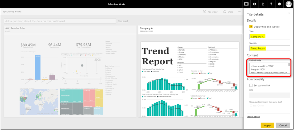 iFrame in Power BI Dashboard