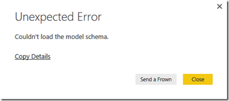 Error Message: Couldn't load the model schema