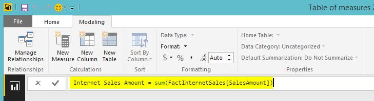 How to Define a Measure Table in Power BI Desktop