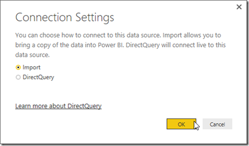 Power BI Get data from SQL Server Import mode