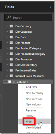 Power BI hide columns