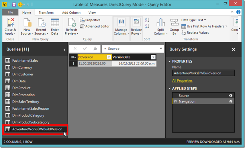 Power BI Query Editor