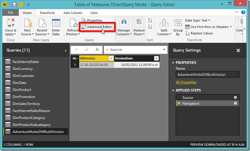 Power BI Advanced Editor