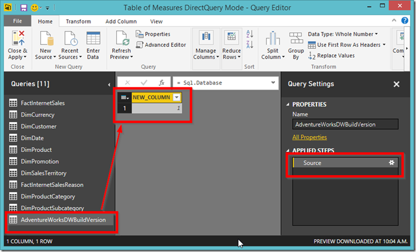Power BI new table in Query Editor