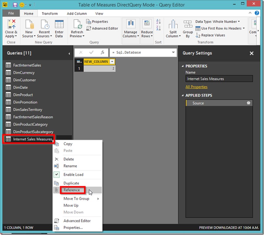 Power BI reference table