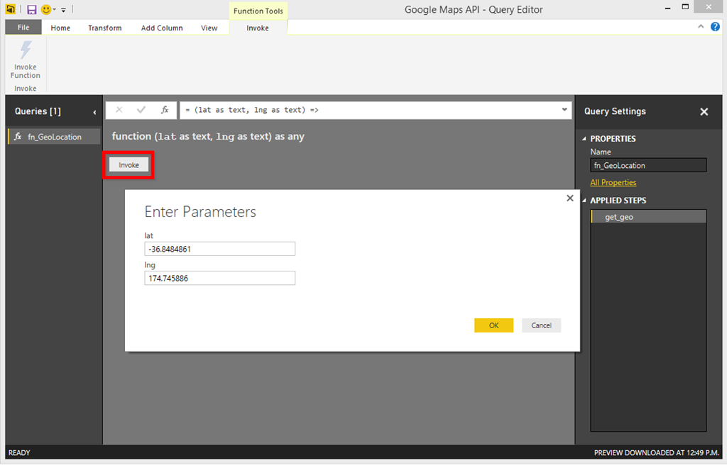 Power BI and Google Maps API (Address Lookup)