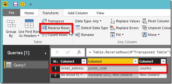 Power BI Desktop Reverse Rows