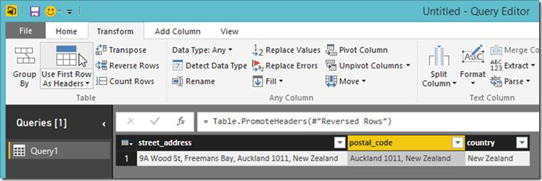 Power BI Desktop Use First Row As Header