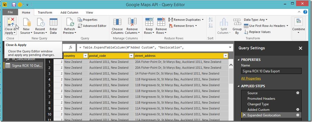 Power BI Query Editor Close & Apply