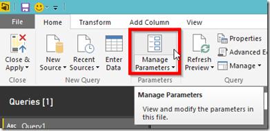 Power BI Desktop Manage Parameters