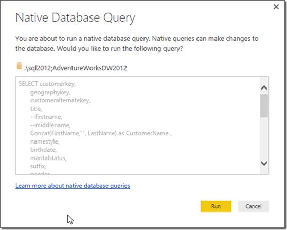 Power BI Desktop Native Database Query
