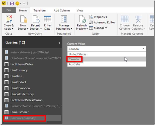 Power BI Desktop Parameter Switch Current Value