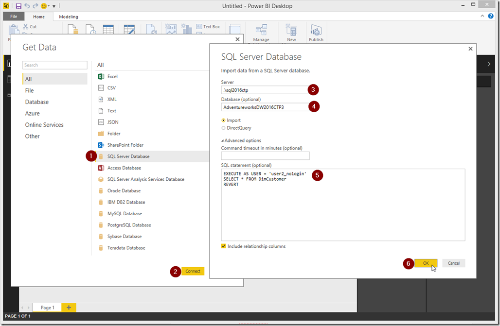 Power BI Desktop Get Data from SQL Server