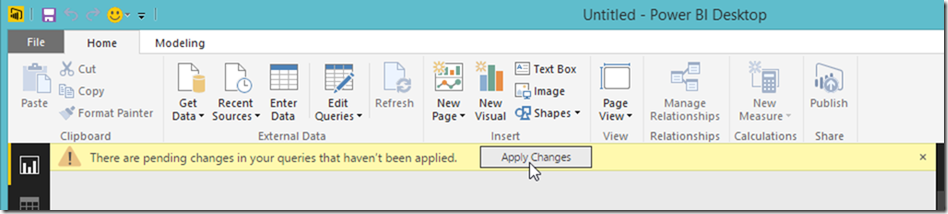 Power BI Desktop Apply Changes