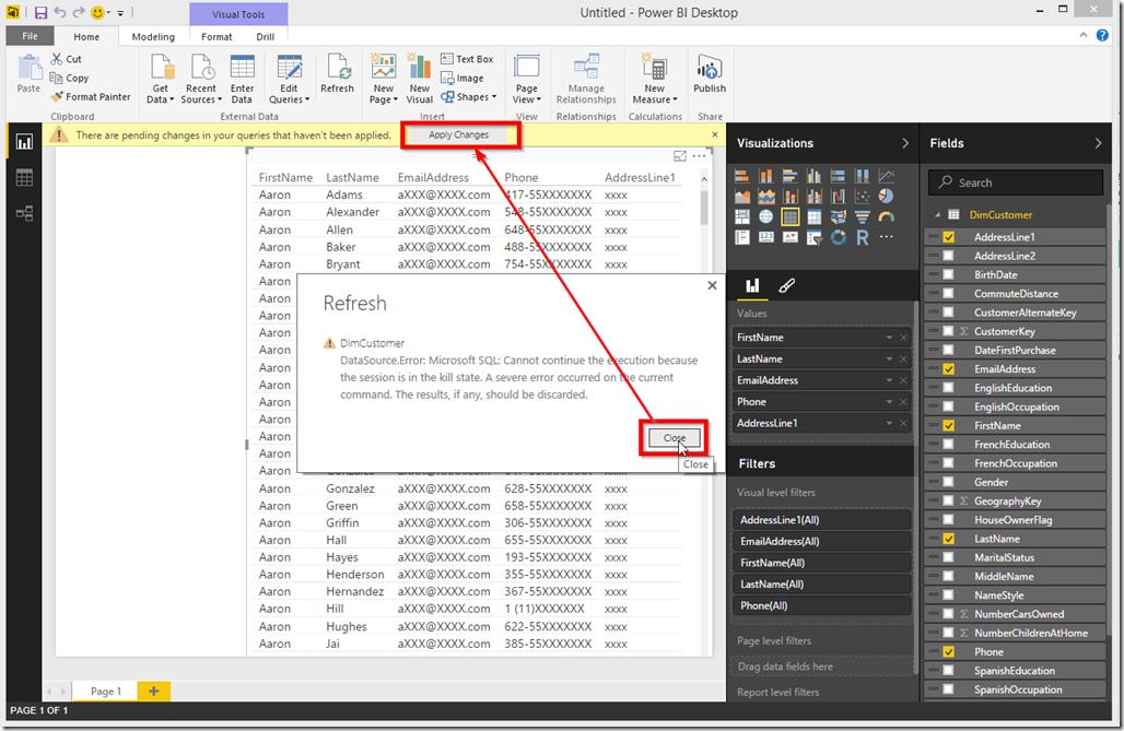 Power BI Desktop Apply Changes