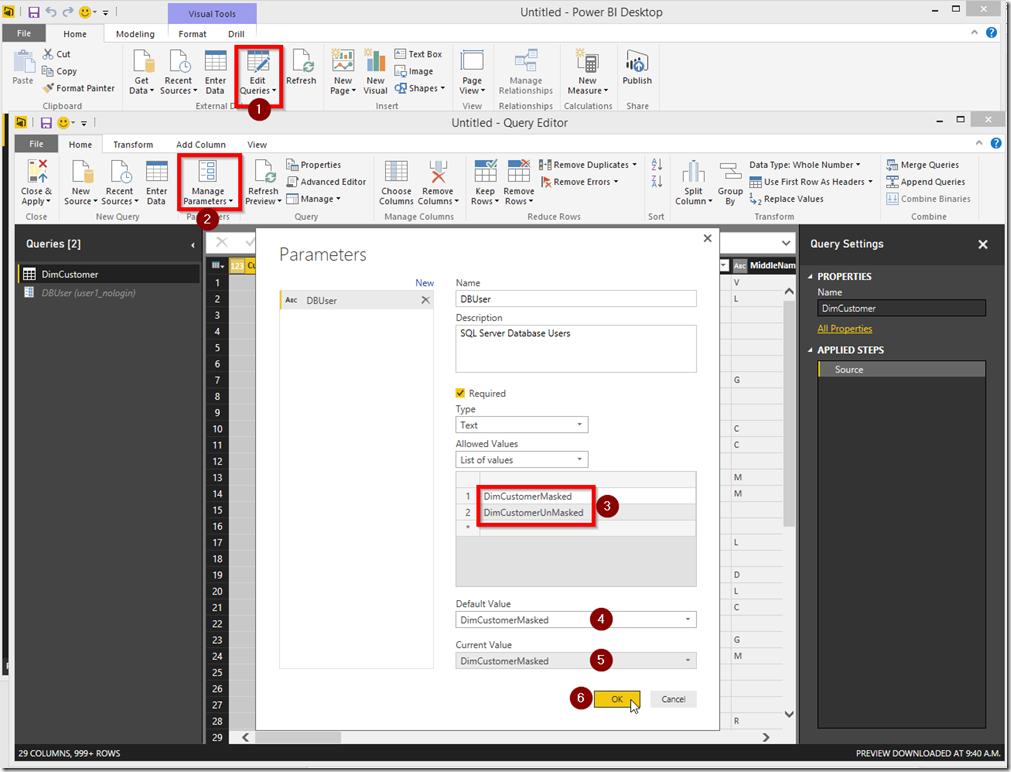 Power BI Desktop Edit Query Parameters