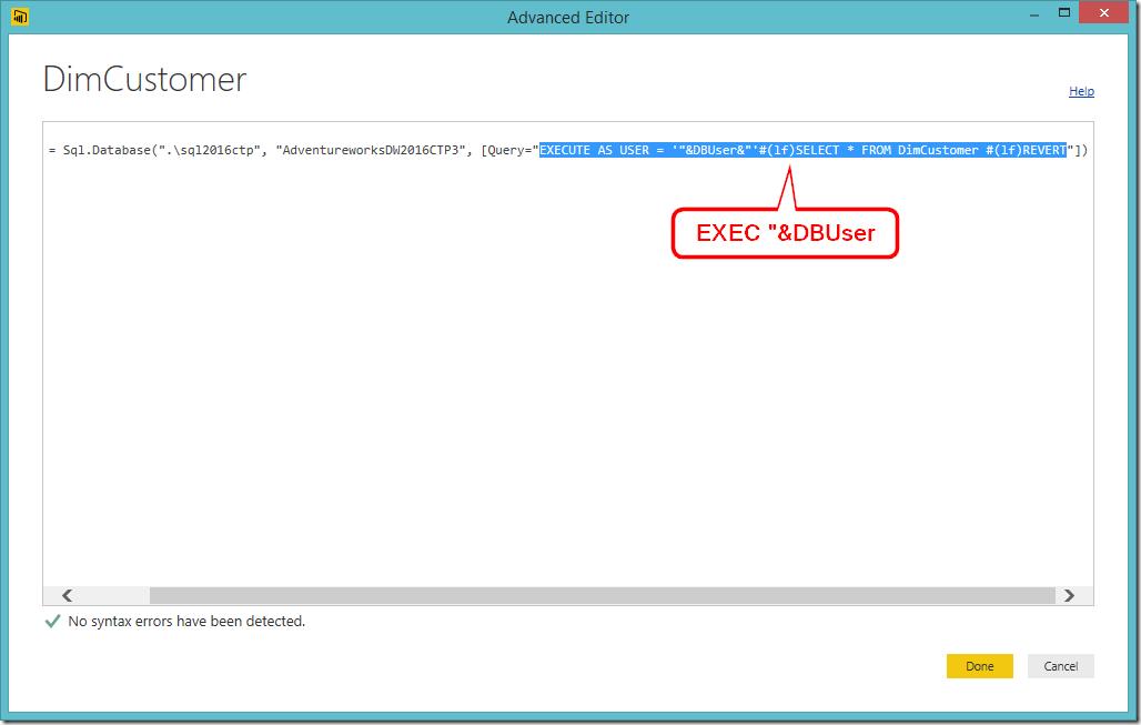 Power BI Desktop Parameterising Data Source