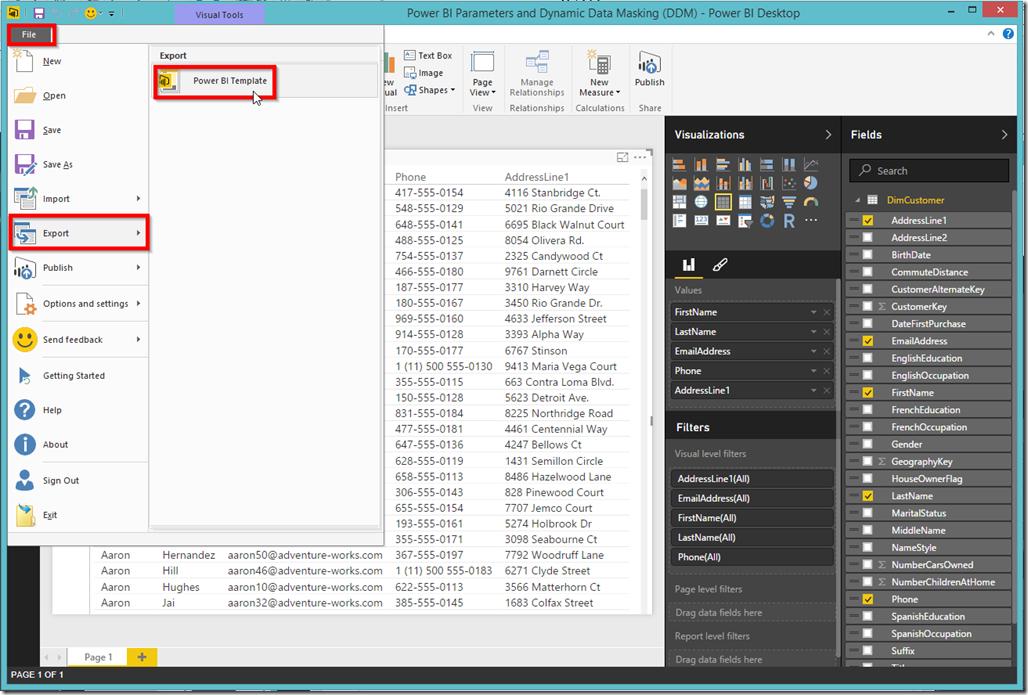 Power BI Desktop Export Template