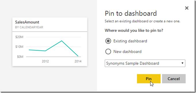 Power BI Service Dashboard Pin Visual