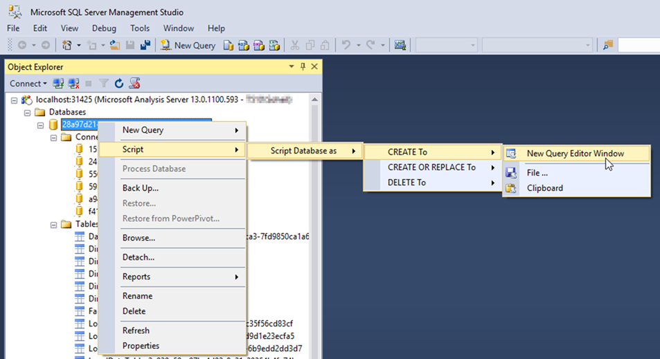 Script Power BI Desktop Model in SSMS