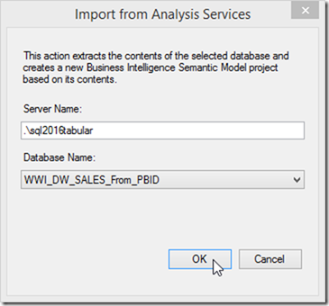 Import SSAS Tabular Model to SSDT