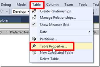 SSAS Tabular Table Properties