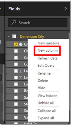 Power BI Desktop Calculated Column