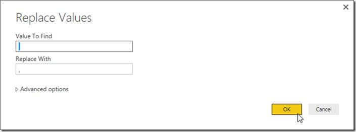 Power BI Desktop Power Query Replace Value