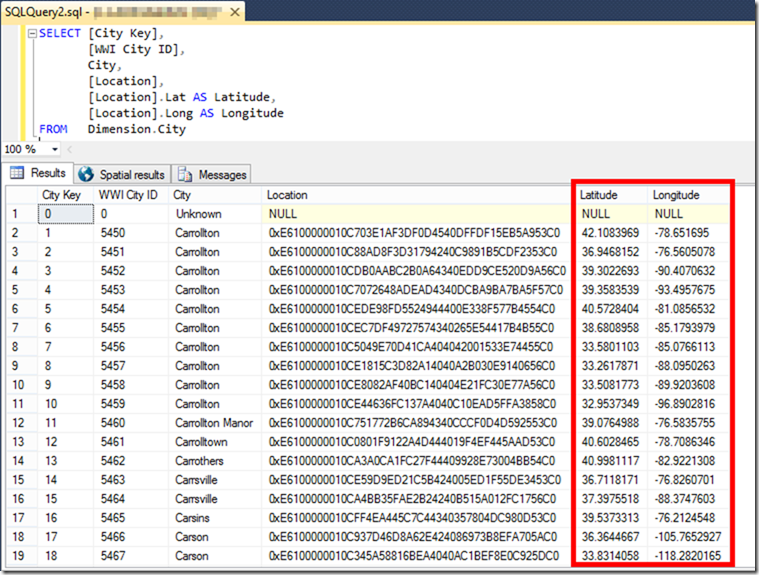 SQL Server Geography Data Type Location.Lat Location.Long