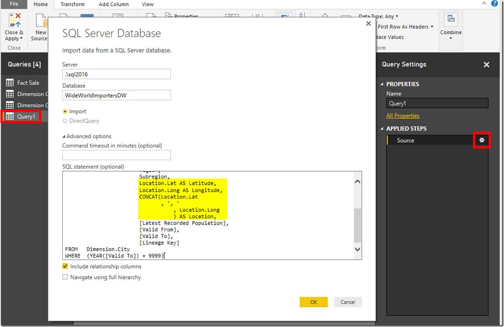 Power BI Desktop Edit Source