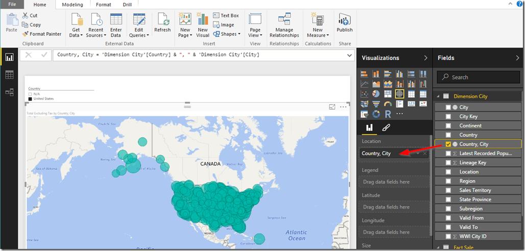 Power BI Desktop Map