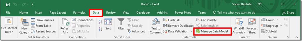 Excel 2016 Manage Data Model