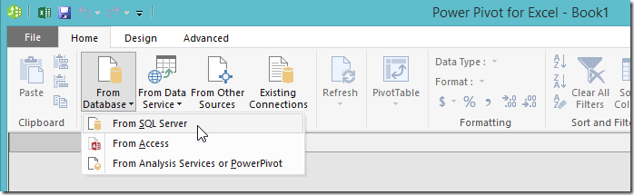 Excel 2016 Power Pivot Get Data