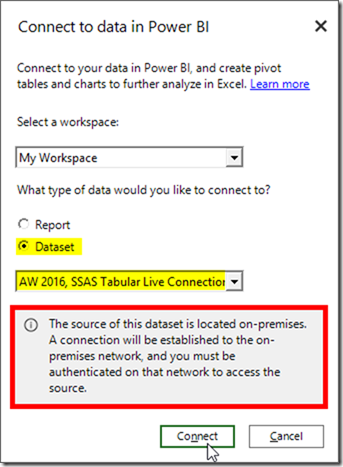 Analyse SSAS On-premises Using Power BI Publisher for Excel