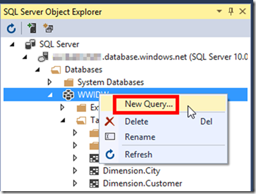New Query in SSDT 2015