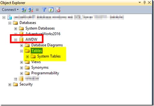 Azure SQL Data Warehouse in SSMS