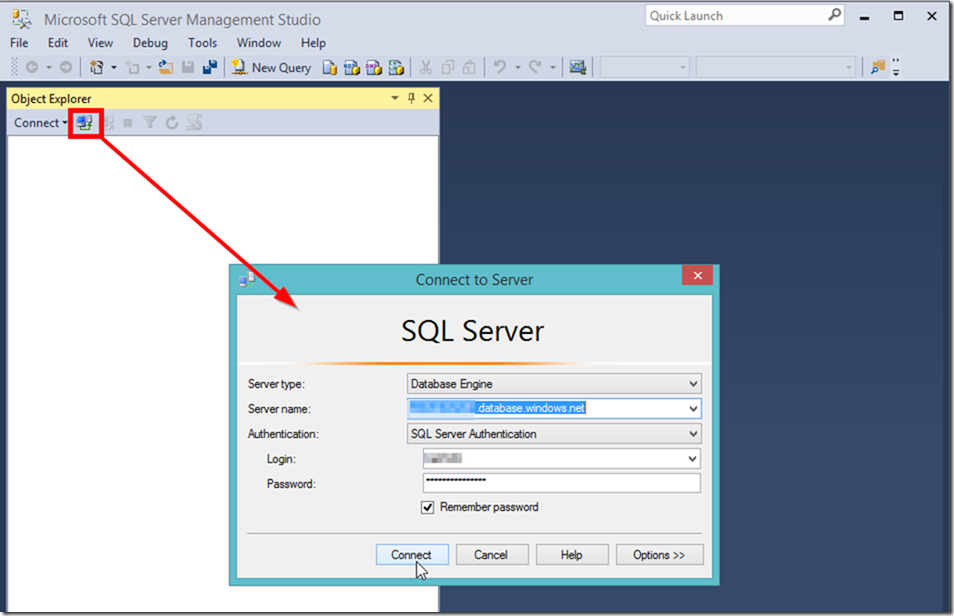 Connect to Azure SQL Data Warehouse in SSMS