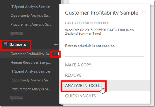 Analyse Power BI Data in Excel from Power BI Service