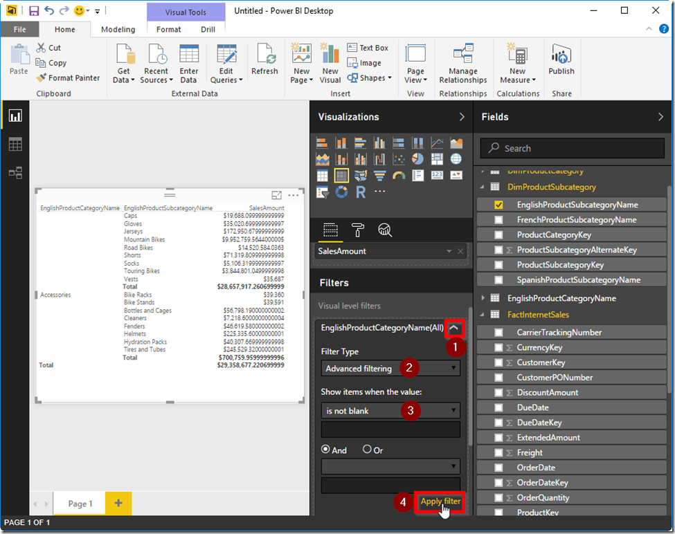 Power BI Desktop Filter Blank Rows