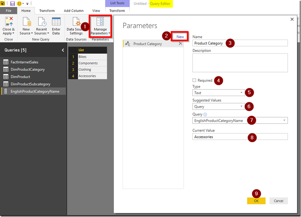 Power BI Desktop Create Parameter