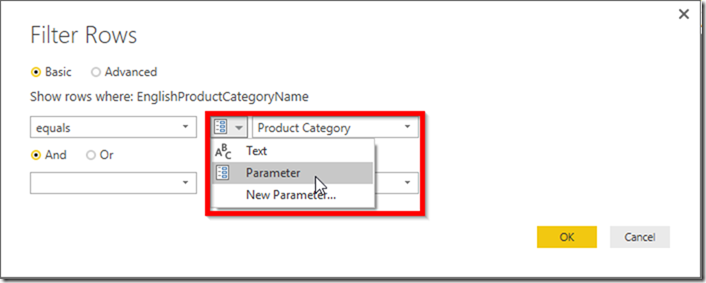Power BI Desktop Reference Parameter via Row Filter